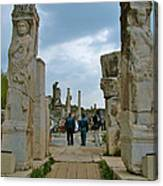 Marble Way From Theater To Central Ephesus-turkey Canvas Print