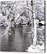 March Snow On The River Canvas Print