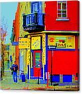 Marche Unique Cafe Sandwich Depanneur Rue St. Jacques St. Henri  Street Scenes Carole Spandau Canvas Print