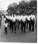 Marchers Number 1 100th Anniversary Parade Nogales Arizona 1980 Black And White  Canvas Print