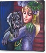 Mardi Gras Puppy Canvas Print