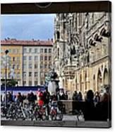 Mareinplatz And Glockenspiel Munich Germany Canvas Print