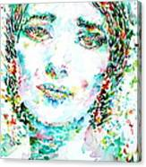 Maria Callas - Watercolor Portrait.1 Canvas Print