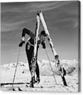 Marian Mckean With Skis Canvas Print