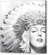 Marilyn Monroe In Headdress Pencil Portrait Canvas Print