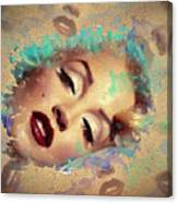 Marilyn Red Lips Digital Painting Canvas Print