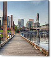 Marina Along Willamette River In Portland Oregon Downtown Canvas Print