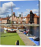 Marina And Old Town Of Gdansk Skyline Canvas Print