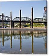 Marina By Willamette River In Portland Oregon Canvas Print