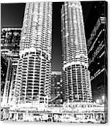 Marina City Towers At Night Black And White Picture Canvas Print