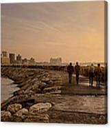 Marina Pier And Pan Of Coast Canvas Print