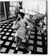 Marisa Berenson Wearing A Forneris Organza Dress Canvas Print