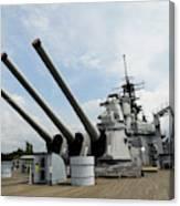 Mark 7 16-inch Gun Barrels On Deck Canvas Print