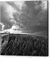 Marker - Black And White Photo Of Stone Marker And Brewing Storm In Kansas Canvas Print