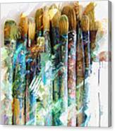Marker Sketch Of Artist's Brushes Canvas Print