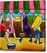 Market Day Under Pink Awning Canvas Print