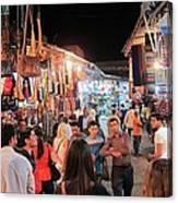 Market Life At Night 2 Canvas Print