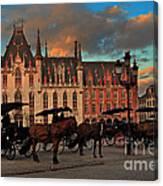 Markt Square At Dusk In Bruges Canvas Print