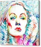 Marlene Dietrich - Colored Pens Portrait Canvas Print