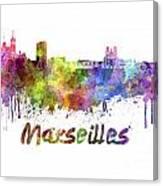 Marseilles Skyline In Watercolor Canvas Print