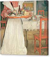 Martina Carrying Breakfast On A Tray Canvas Print