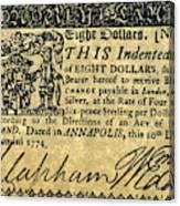 Maryland Bank Note, 1774 Canvas Print