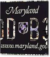 Maryland License Plate Canvas Print