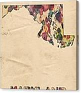 Maryland Map Vintage Watercolor Canvas Print