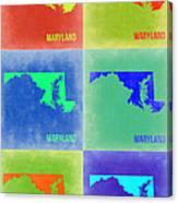 Maryland Pop Art Map 2 Canvas Print