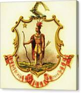 Massachusetts Coat Of Arms - 1876 Canvas Print