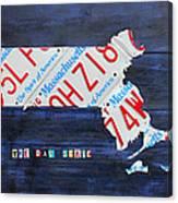 Massachusetts License Plate Map Canvas Print