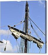 Mast And Rigging On A Replica Of The Christopher Columbus Ship P Canvas Print