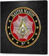 Master Mason - 3rd Degree Square And Compasses Jewel On Black Leather Canvas Print