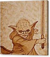Master Yoda Jedi Fight Beer Painting Canvas Print