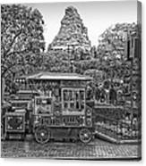 Matterhorn Mountain With Hot Popcorn At Disneyland Bw Canvas Print