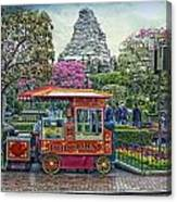 Matterhorn Mountain With Hot Popcorn At Disneyland Textured Sky Canvas Print