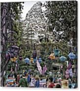 Matterhorn Mountain With Tea Cups At Disneyland Canvas Print