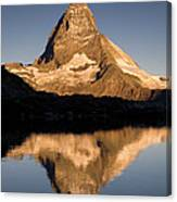 Matterhorn Reflected In Riffelsee Lake  Canvas Print