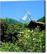 Matterhorn With Mountain Chalet Canvas Print