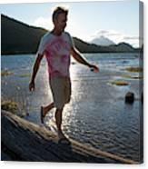 Mature Man Balances Along Log Canvas Print