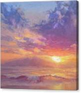 Coastal Hawaiian Beach Sunset Landscape And Ocean Seascape Canvas Print
