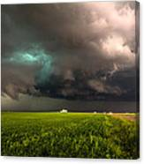 May Thunderstorm - Storm Twists Over House On Colorado Plains Canvas Print