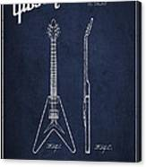 Mccarty Gibson Electric Guitar Patent Drawing From 1958 - Navy Blue Canvas Print