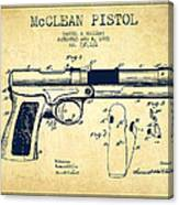Mcclean Pistol Drawing From 1903 - Vintage Canvas Print