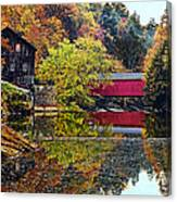 Mcconnell's Mill And Covered Bridge Canvas Print