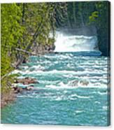 Mcdonald Creek Falls In Glacier Np-mt Canvas Print