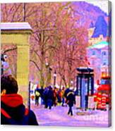 Mcgill Campus Eager Students Enter Roddick Gates Montreal Collectible Art Prints Carole Spandau  Canvas Print