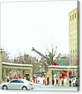 Mcgill Campus Student Cycles By Roddick Gates Sherbrooke St Montreal Winter Scene Carole Spandau  Canvas Print