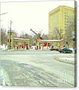 Mcgill University Campus Sherbrooke Street Scene Early Morning Winter Day Montreal Carole Spandau Canvas Print
