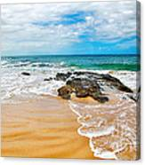 Meandering Waves On Tropical Beach Canvas Print
